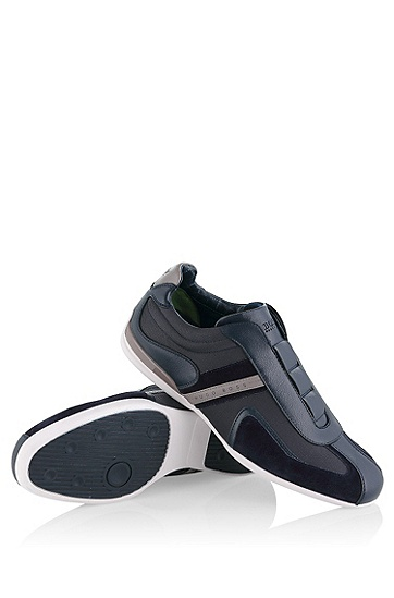 'Space On' | Leather, Textile Slip-On Sneakers, Dark Blue