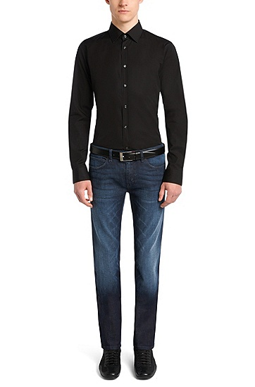 'HUGO 708' | Slim Fit, 10.75 oz Stretch Cotton Jeans, Dark Blue