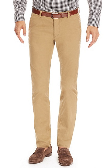 'Rice' | Slim Fit, Stretch Cotton Colored Chinos, Beige