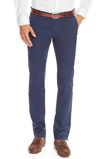 'Rice' | Slim Fit, Stretch Cotton Colored Chinos, Open Blue