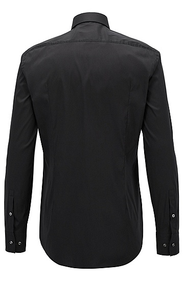 'Jason' | Slim Fit, Spread Collar Stretch Cotton Blend Dress Shirt, Black