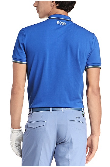 'Paddy Pro' | Modern Fit, Moisture Manager Stretch Cotton Blend Polo Shirt, Open Blue