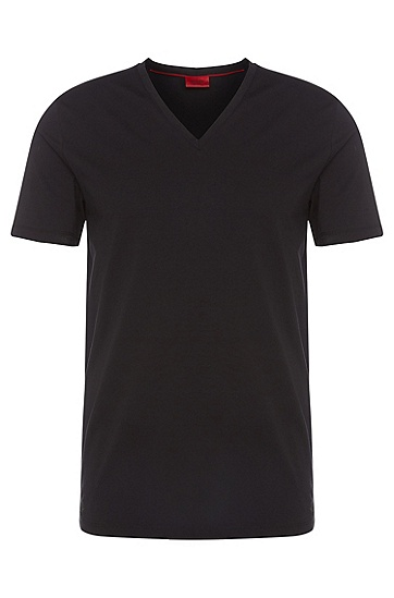 'Dredosos' | Stretch Cotton V-Neck T-Shirt, Black