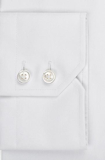 'Gerald' | Regular Fit, Spread Collar Easy Iron Cotton Dress Shirt, White