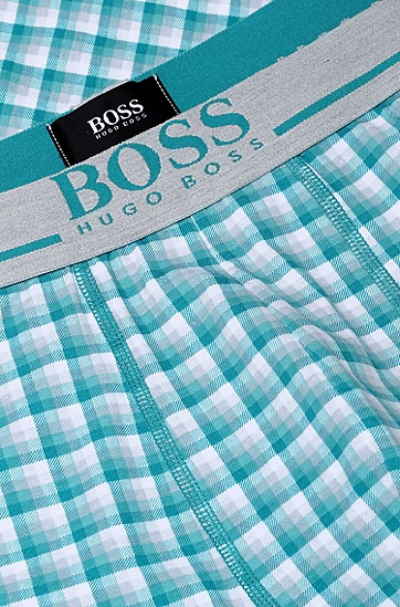 'Boxer Print' | Stretch Cotton Trunks, Open Blue