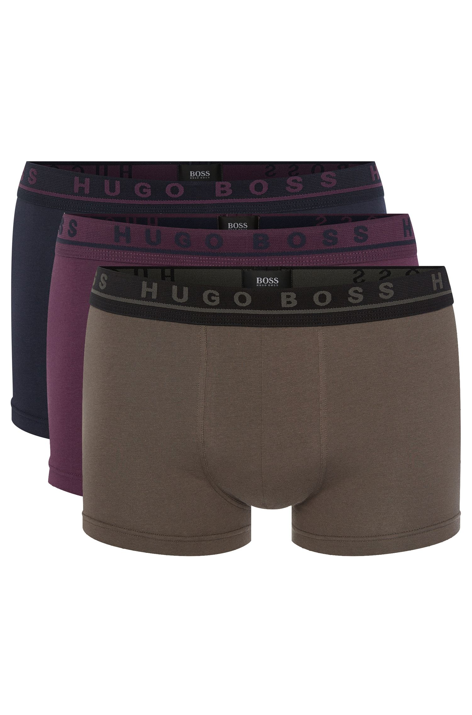 'Boxer 3P FN Solid' | Stretch Cotton Trunks, 3-Pack