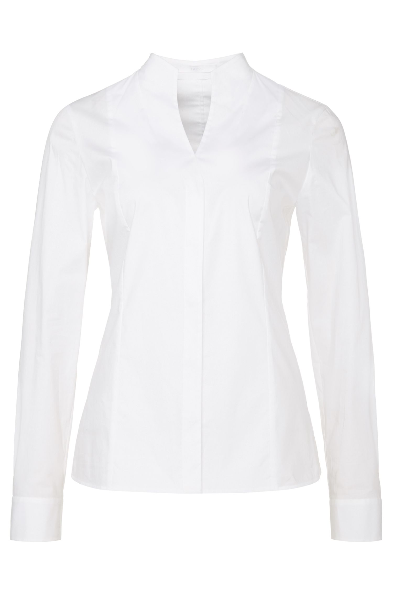 'Barisa' | Stretch Cotton Poplin Button Down Blouse