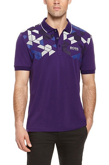 'Paddy Pro' | Modern Fit, Moisture Manager Stretch Cotton Blend Polo Shirt, Dark Purple
