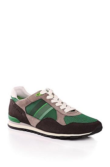 'Runcool'   Suede Sporty Sneakers, Dark Green