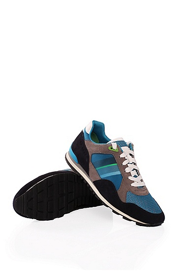 'Runcool' | Suede Sporty Sneakers, Open Blue