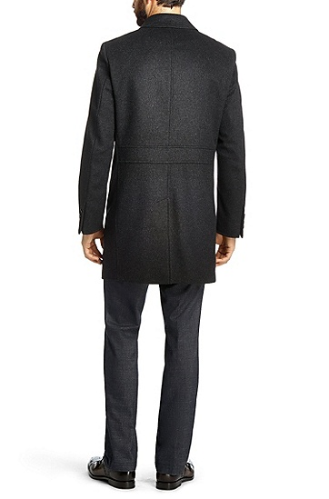 'The Task' | Virgin Wool Cashmere Car Coat, Charcoal