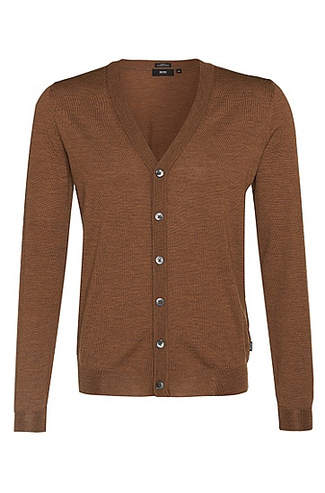 'Mardon-D' | Virgin Wool Sweater Cardigan, Beige