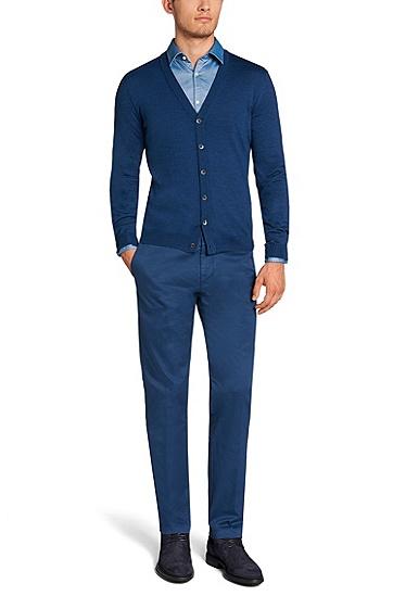'Mardon-D' | Virgin Wool Sweater Cardigan, Blue