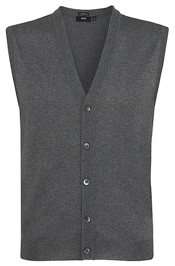'Medrick-D' | Merino Wool Sweater Vest, Grey
