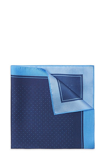'Pocket Square' | Silk Printed Pocket Square, Dark Blue