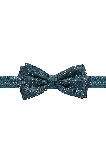 'Bow Tie Fashion' | Silk Pin Dot Print Bow Tie, Open Green
