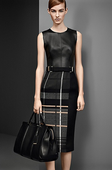 'FS_LE865' | Leather and Virgin Wool Plaid Dress, Black