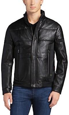 'Jevons' | Lamb Leather Textile Biker Jacket, Black