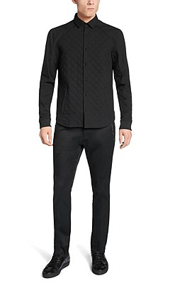 'Etawah' | Slim Fit, Cotton Wool Quilted Shirt Jacket, Black