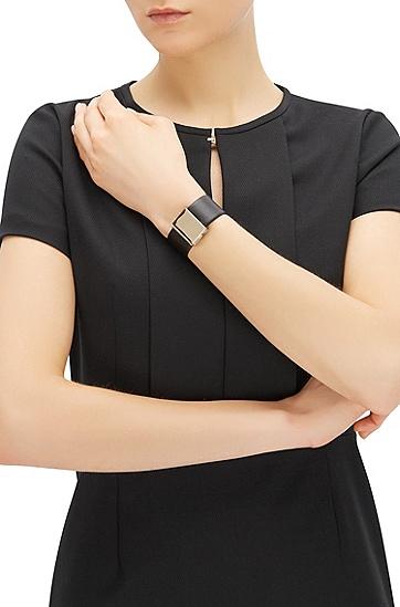 'Romi Bracelet' | Leather Clasp Bracelet, Black