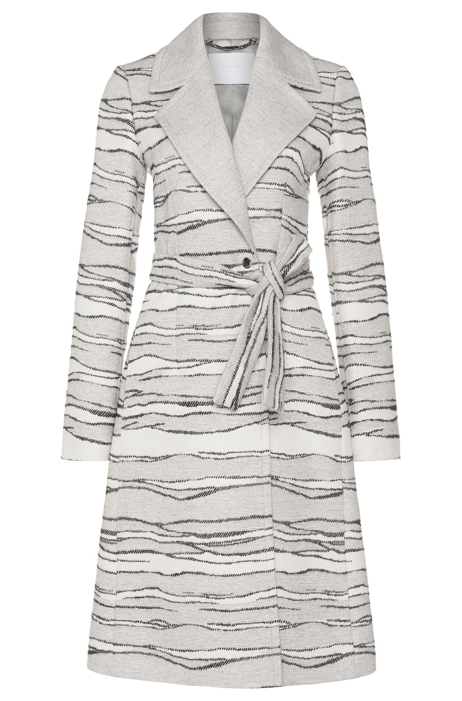 'Catyla' | Wool Silk A-Line Jacquard Coat