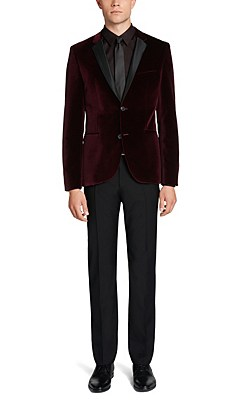 'Adrison' | Extra Slim Fit, Cotton Velvet Sport Coat, Dark Red