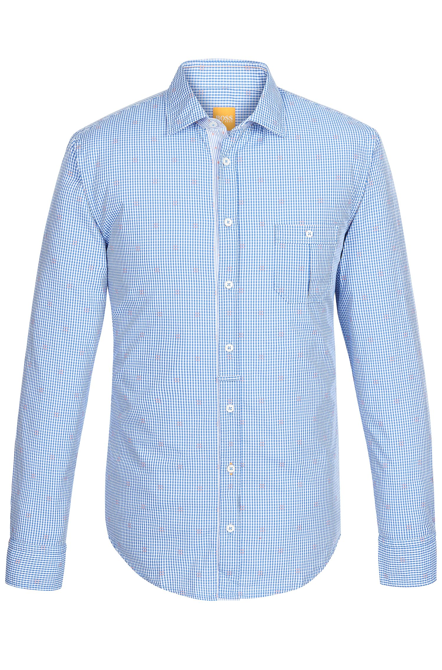 'EslimE' | Extra Slim Fit, Cotton Embroidered Button Down Shirt