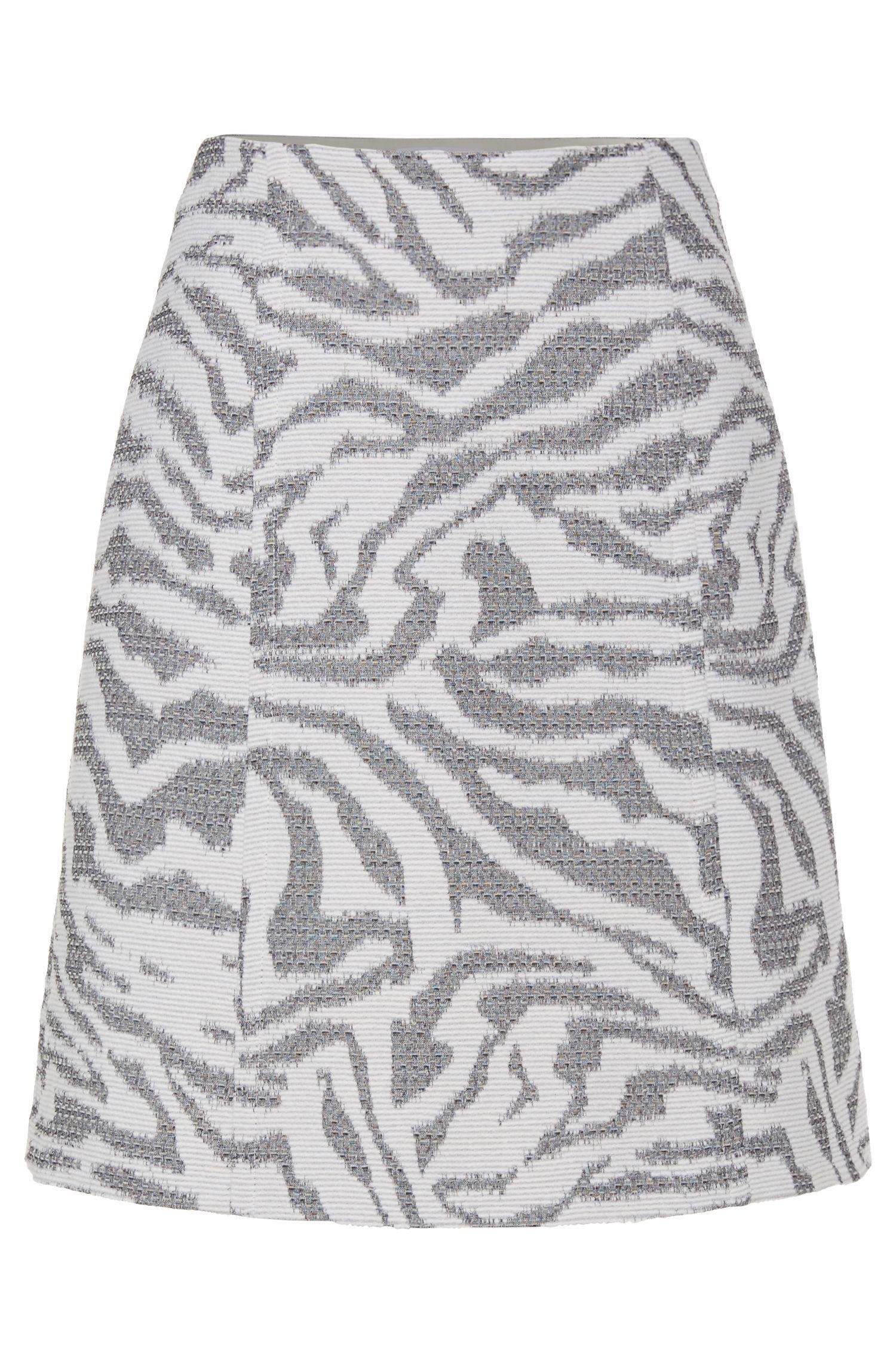'Varoci' | Virgin Wool Blend Animal Jacquard Skirt