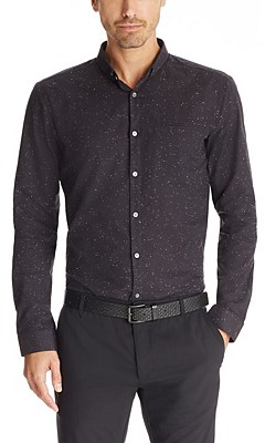 'Elden' | Slim Fit, Cotton Speckled Button Down Shirt, Black
