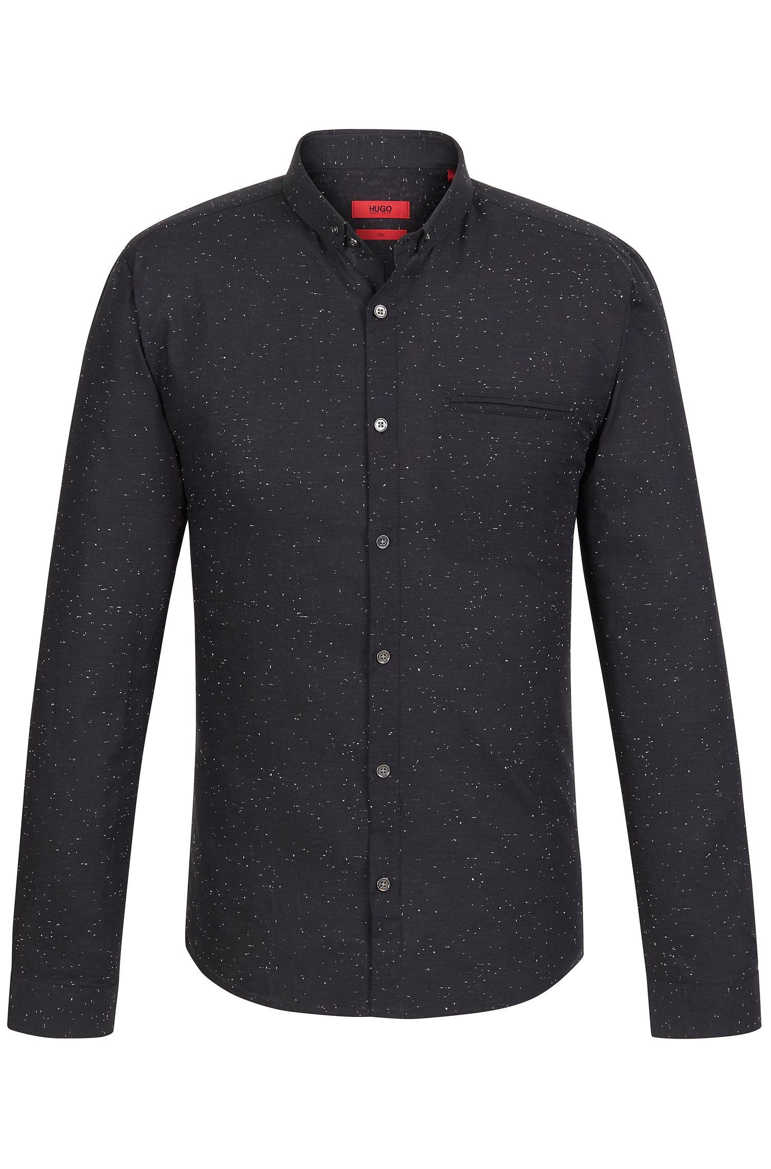 'Elden' | Slim Fit, Cotton Speckled Button Down Shirt