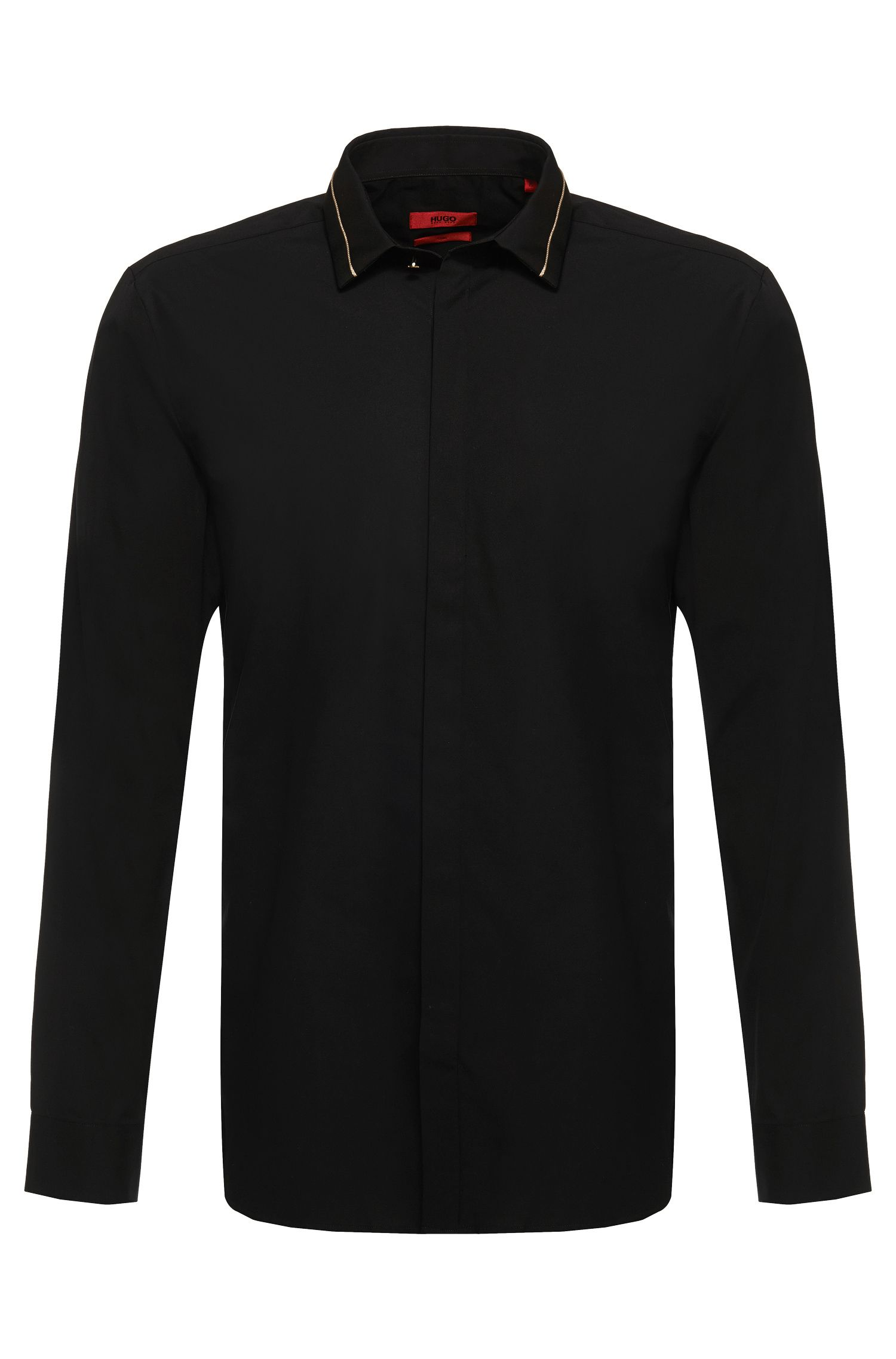 'Ems' | Slim Fit, Gold Piping Button Down Shirt