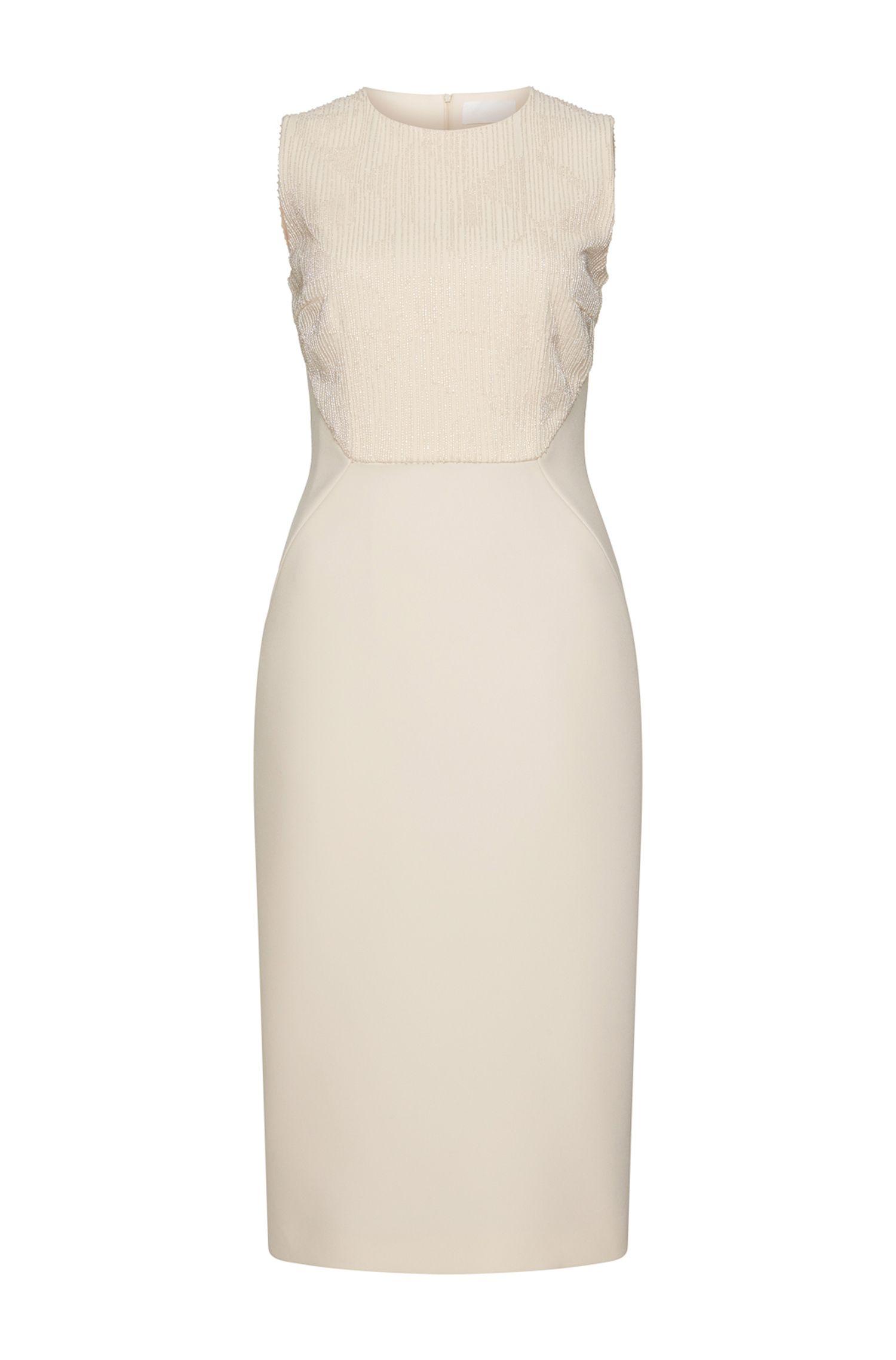 'Dovena' | Crepe Beaded Sheath Dress