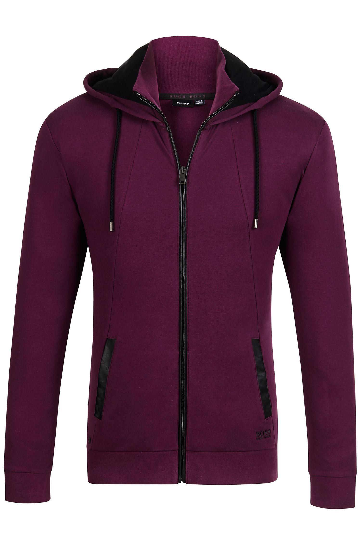 'Jacket Hooded'   Vegan Leather Trim Hooded Sweatshirt