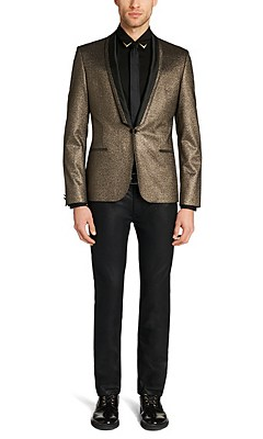 'Adisson' | Extra Slim Fit, Stretch Metallic Wool Sport Coat, Gold