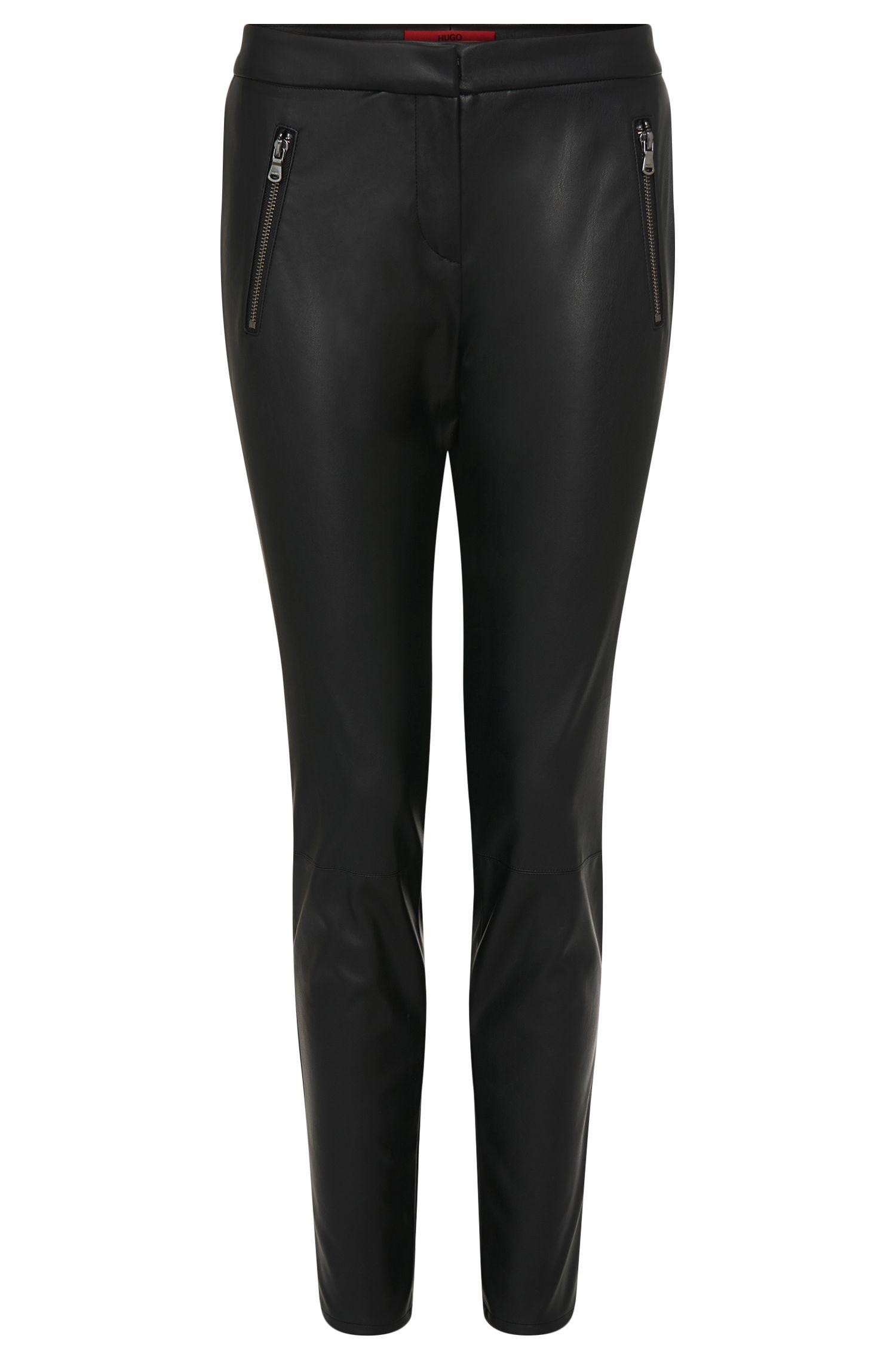'Heidina' | Vegan Leather Zipper Trousers