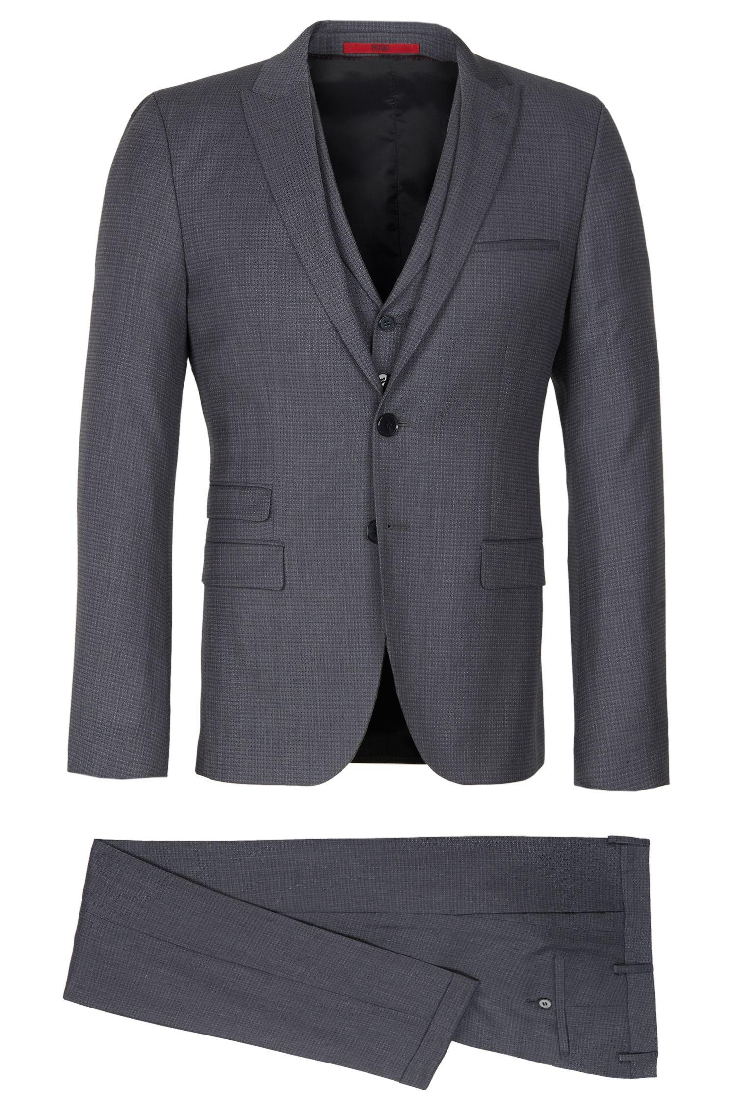 'Aneo/Wiad/Hilor'   Slim Fit, Virgin Wool 3-Piece Suit