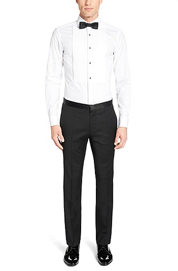'T-Sebastien' | Slim Fit, 2-Ply Italian Cotton Tuxedo Shirt, White