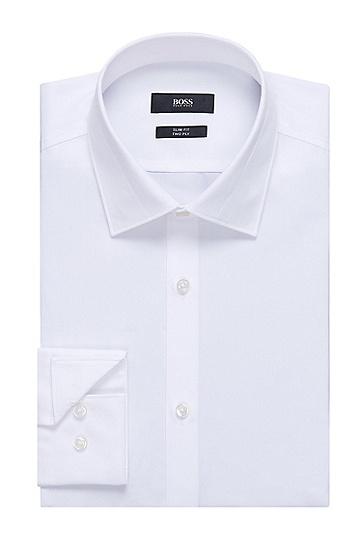 'Jarret' | Slim Fit, Italian Cotton Textured Collar Dress Shirt, White