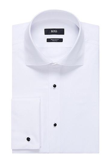 'Gustavo' | Regular Fit, Cotton Tuxedo Shirt, White