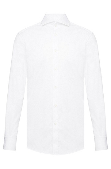 'T-Yacob' | Slim Fit, Italian Cotton Textured Dress Shirt, Open White
