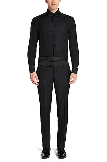 'Gustavo' | Regular Fit, Cotton Textured Tuxedo Shirt, Black
