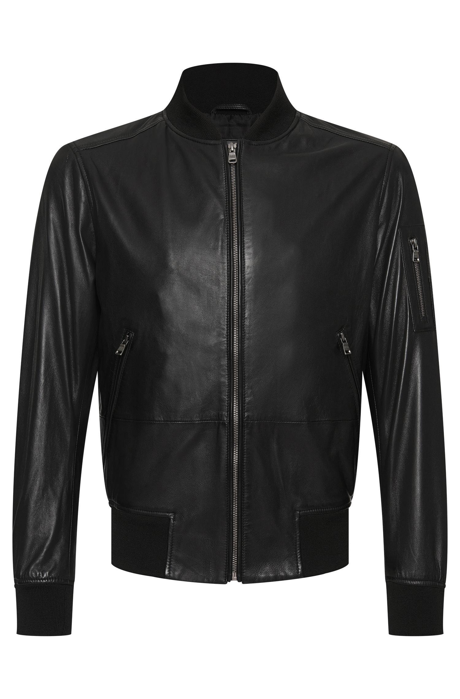 'Mirek'   Lambskin Leather Bomber Jacket