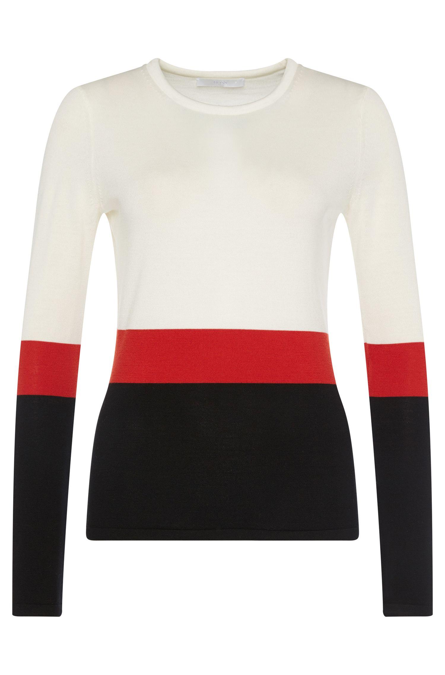 'Faye'   Virgin Wool Color Block Sweater