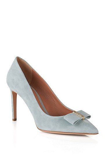 'Bow' | Suede Bow Pumps, Light Green