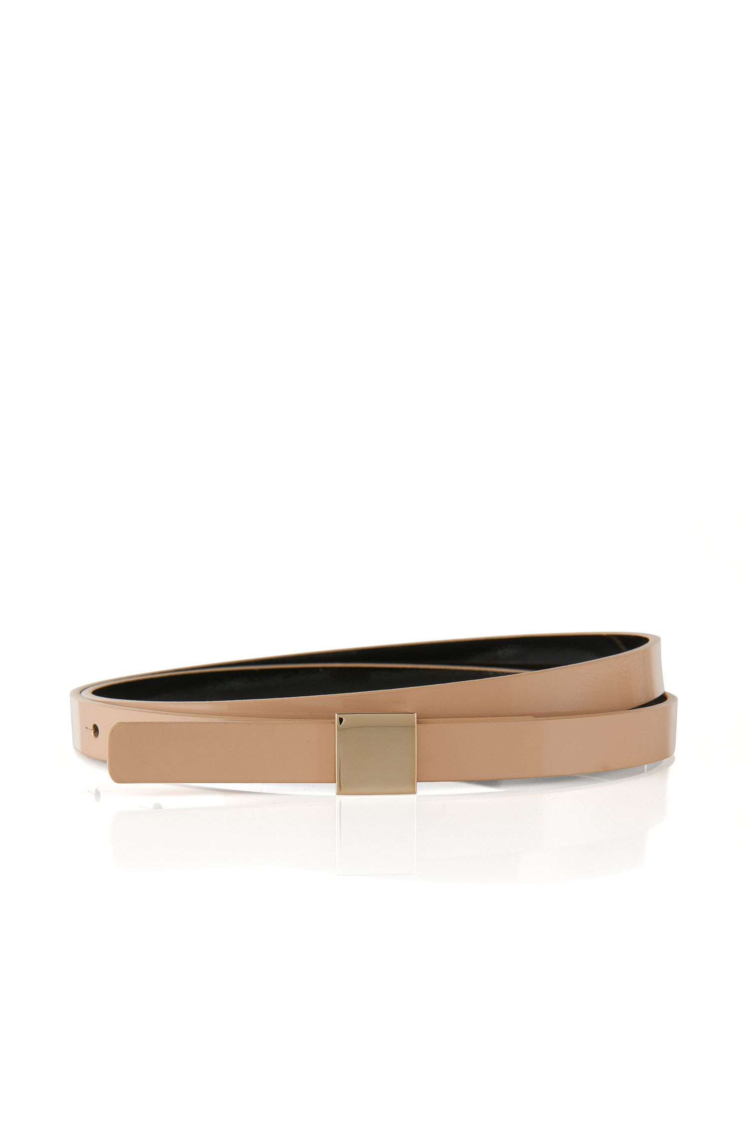'Bliss-P' | Leather Reversible Plaque Skinny Belt