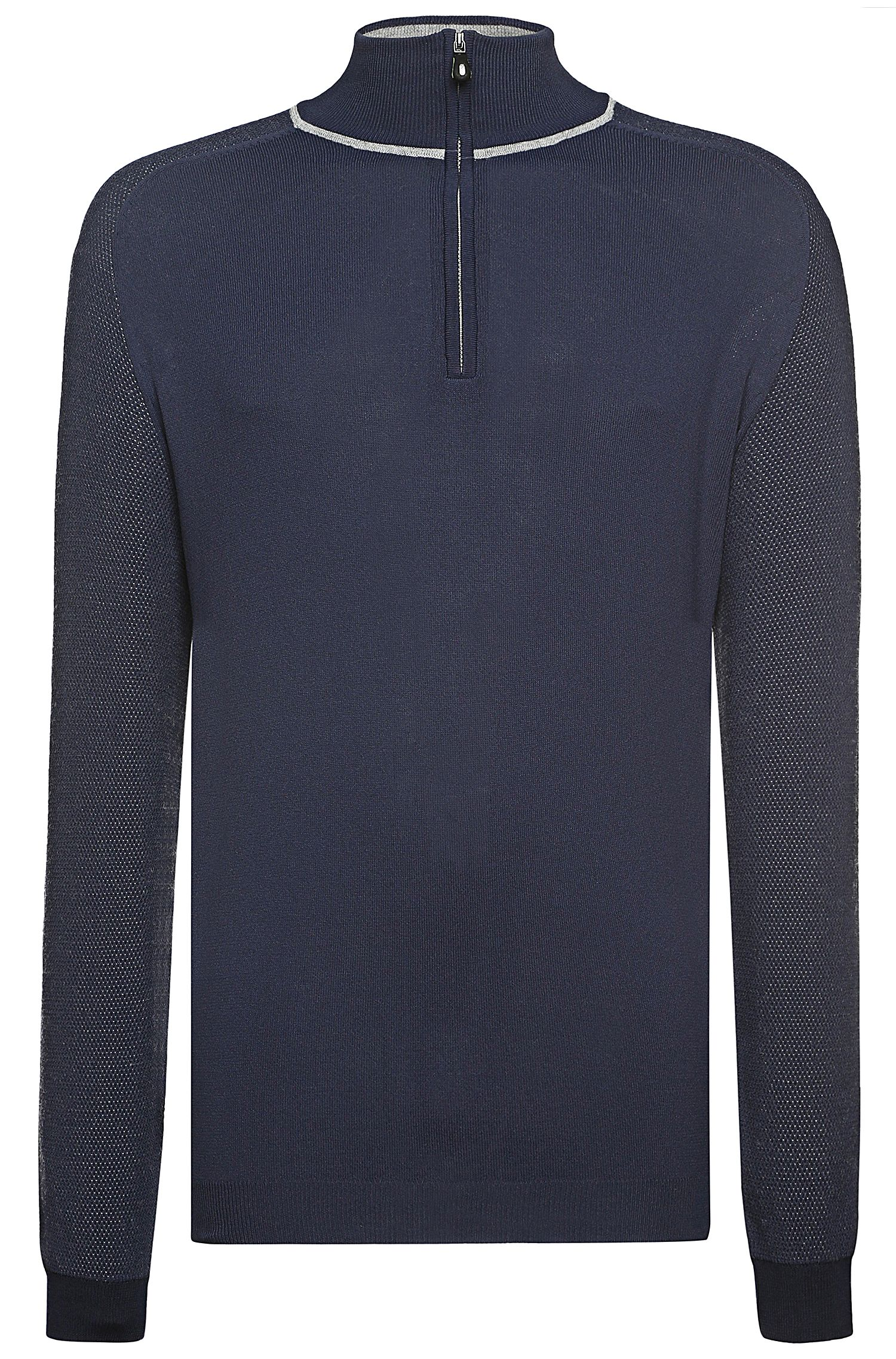 'Zozz' | Virgin Wool Mesh Troyer Collar Sweater