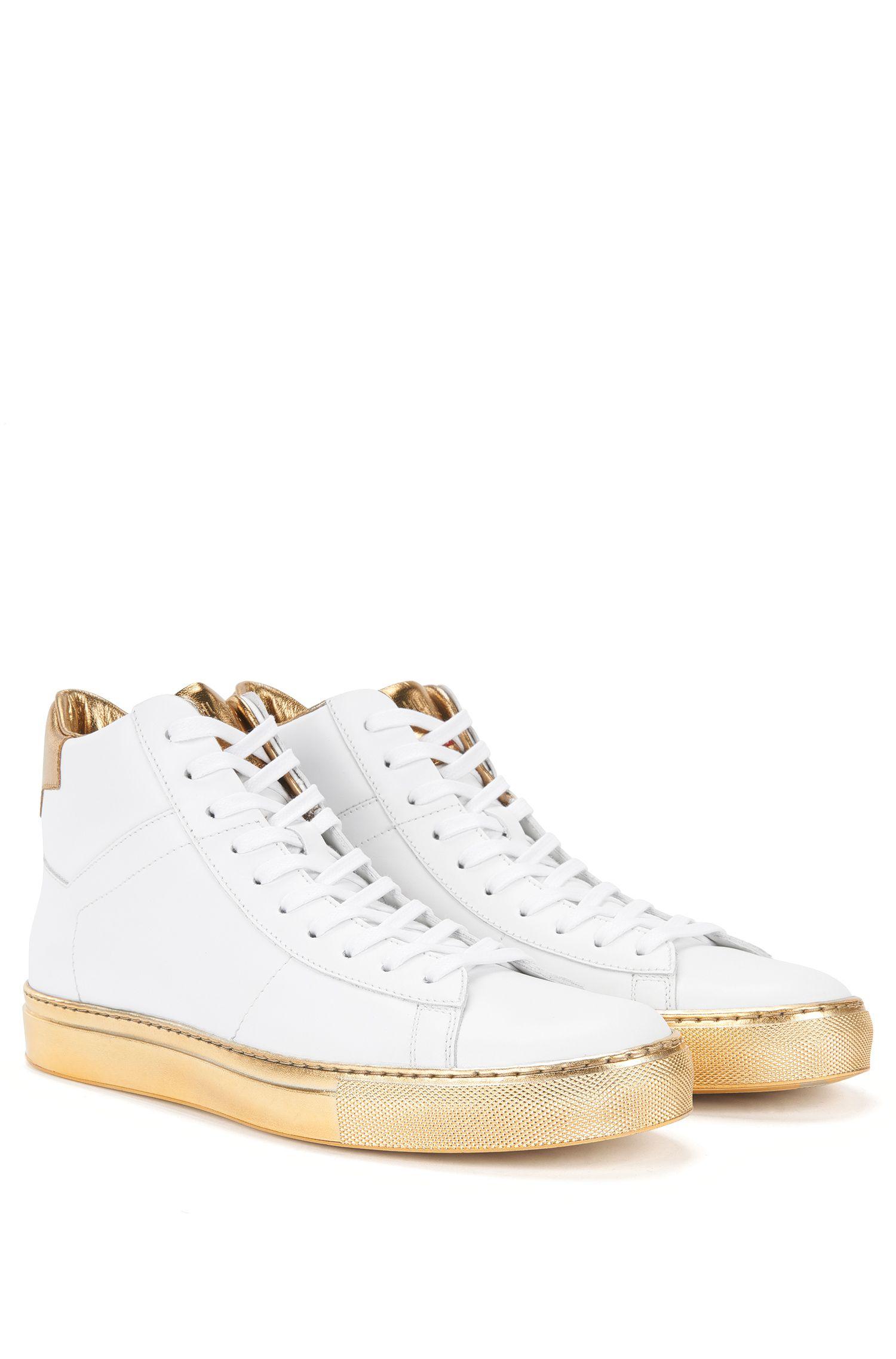 'Aristoc'   Calfskin High Top Metallic Sneakers