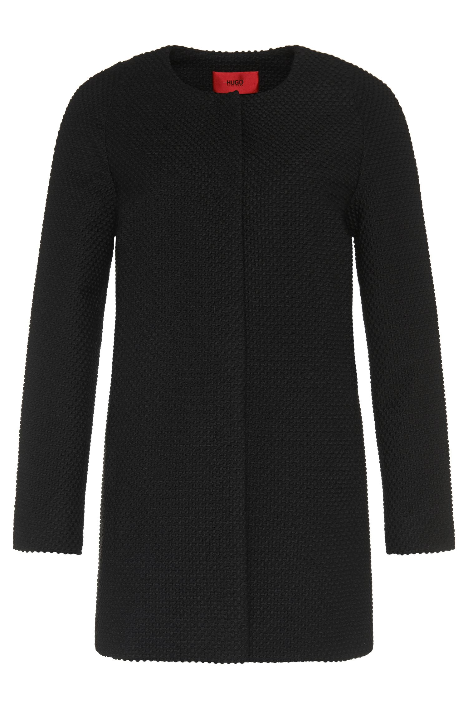 'Meliah' | Stretch Cotton Wool Blend Textured Coat