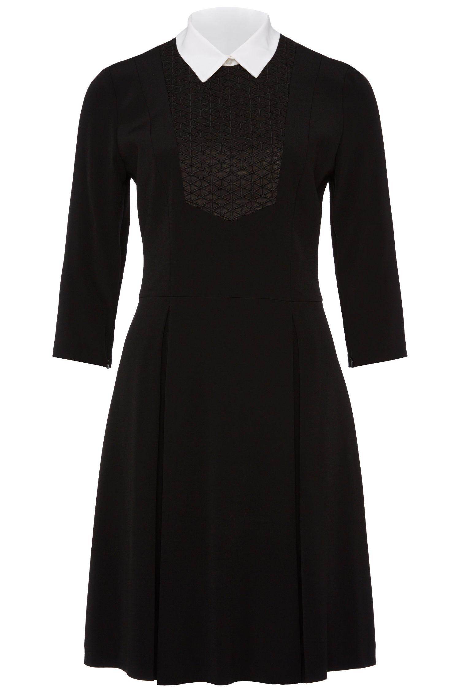 'Kalua'   A-line Textured Dress, Detachable Collar