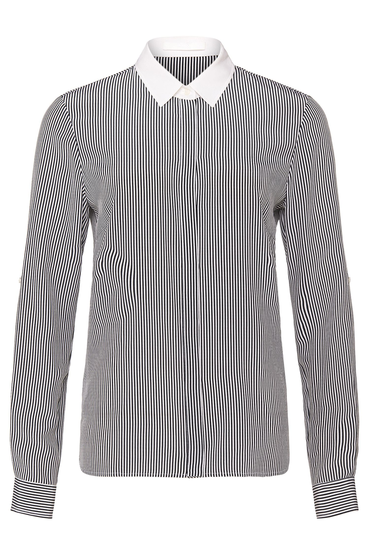'Relgie' | Silk Striped Button Up Blouse